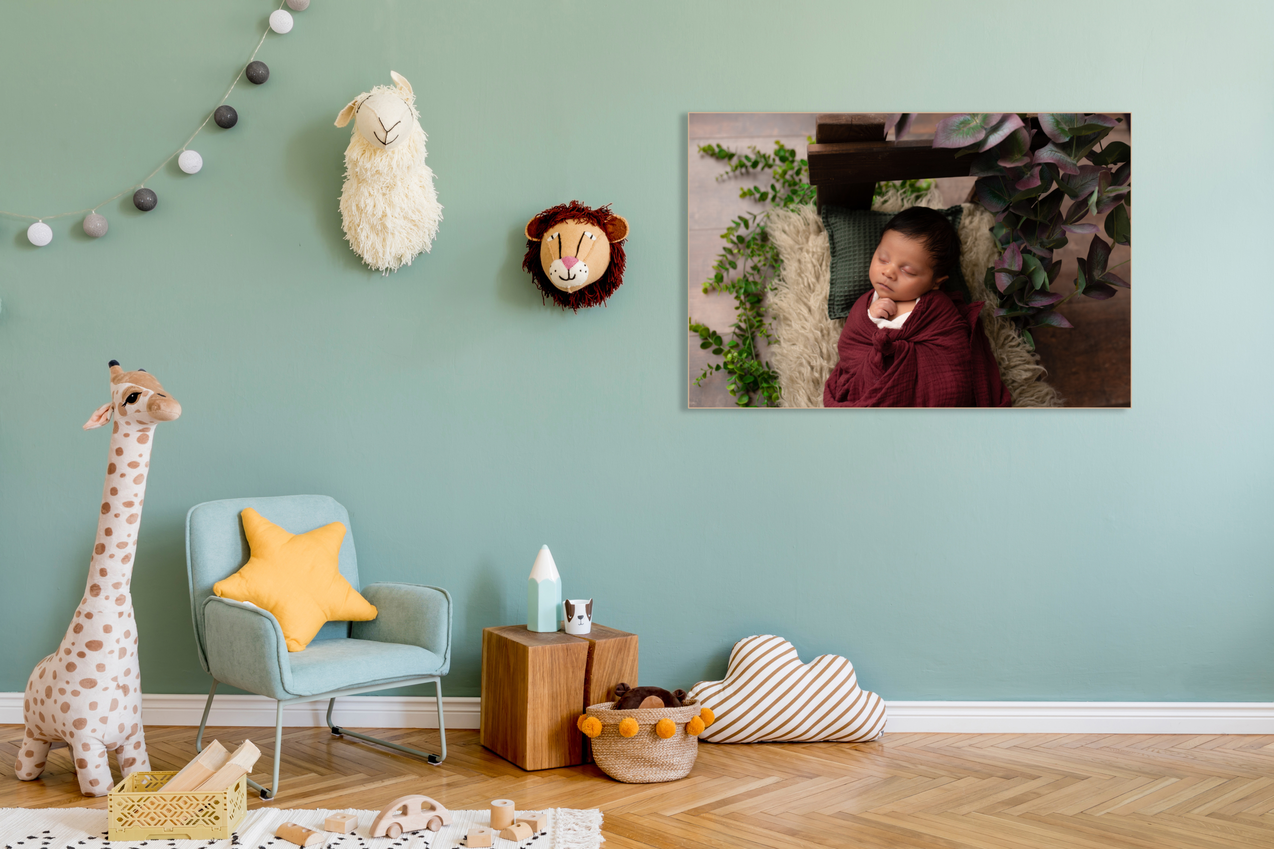 Stylish scandinavian kid room with toys, teddy bear, plush anima