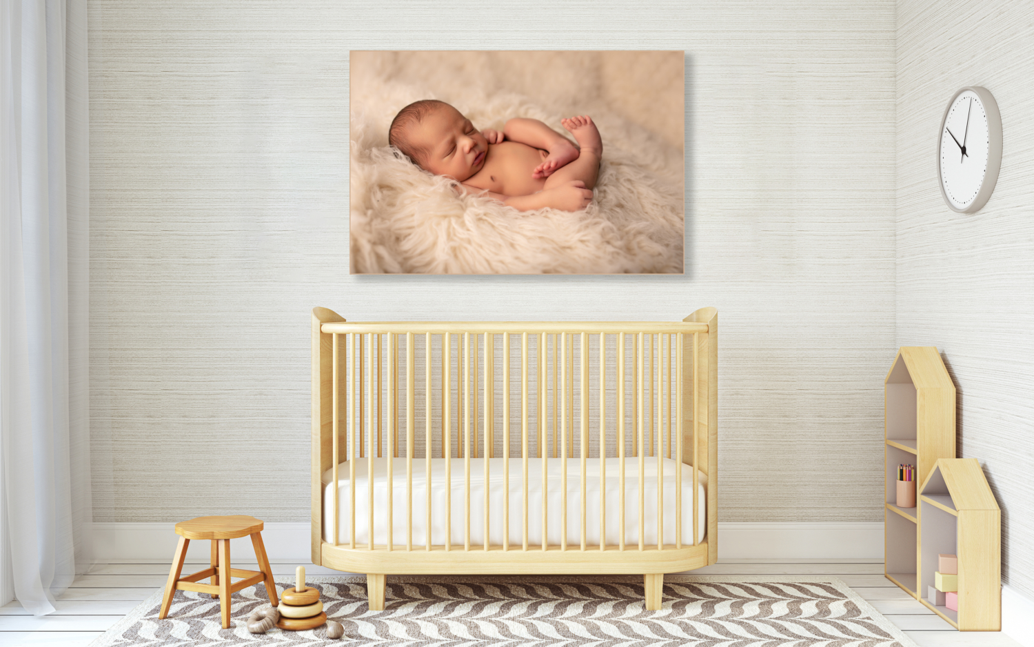 Interior of nursery in scandinavian style. Mock-up interior with posters. 3d render.